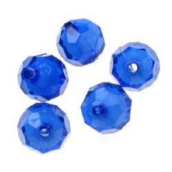 Мънисто с бяла основа топче футбол 16x15 мм дупка синьо -50 грама ~28 броя