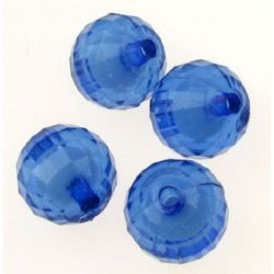 Мънисто с бяла основа топче 14 мм фасетирано синьо -50 грама