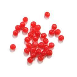 Топче 8 мм дупка 2 мм имитация нефрит червено -50 гр ~ 170 броя