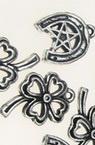 Pandantive trifoi metalice potcoavă 20-25x16x3 mm gaură 2 mm culoare argintiu -20 grame ~ 40 bucăți