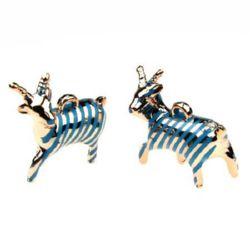 Pandantiv forma  capră metalizată 42x36x14 mm albastru -2 buc