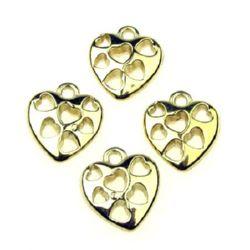Pandantiv forma Inimă 20x18x6 mm gaură 2 mm CCB -12 bucăți -10 grame