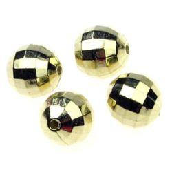 Χάντρα στρογγυλή πλαστική  CCB 12 mm τρύπα 2 mm χρυσό χρώμα -10 τεμάχια -10 γραμμάρια
