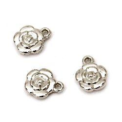 Pandantiv CCB floare 16x13x5 mm gaură 2 mm culoare argintie - 20 grame ~ 50 bucăți