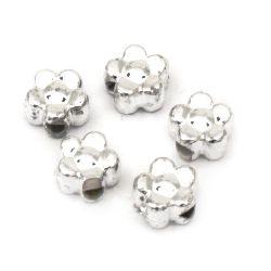 Perlă CCB floare 5,5x3,5 mm gaură 1 mm culoare alb -20 grame ~ 350 bucăți