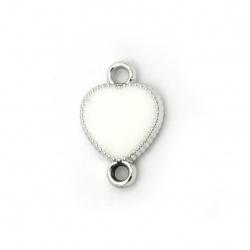 Свързващ елемент CCB сърце 22x15x4 мм дупка 3 мм цвят бял -5 броя
