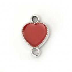 Свързващ елемент CCB сърце 22x15x4 мм дупка 3 мм цвят червен -5 броя