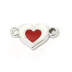 Свързващ елемент CCB сърце 24x13.5x3 мм дупка 2.5 мм цвят бяло-червен -10 броя