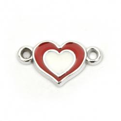 Свързващ елемент CCB сърце 24x13.5x мм дупка 2.5 мм цвят червено-бял -10 броя