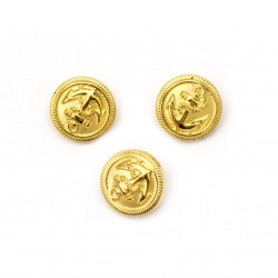 Metallic button 18x3 mm hole 3 mm gold color - 10 pieces