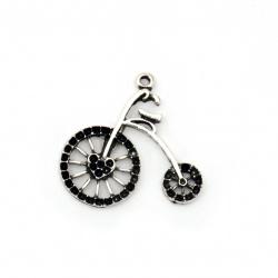 Мънисто метализе колело 25x27 мм дупка 2 мм цвят старо сребро -20 грама ~10 броя