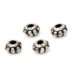 Мънисто метализе шайба с черен кант 6x3.5 мм дупка 2 мм цвят сребро -25 грама ~475 броя
