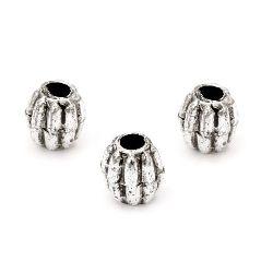 Margele butoi metalic 10x9 mm gaură 3 mm culoare argintiu -50 grame ~ 170 bucăți