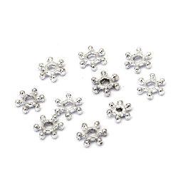 Мънисто метализе снежинка 7x1.5 мм дупка 2 мм цвят сребро -50 грама