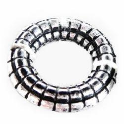 Inel metalic  margele 16x3,5 mm gaură 8 mm culoare argintiu -50 grame ~ 125 bucăți