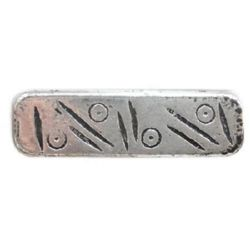 Bila dreptunghi metalic 31x9x4 mm gaură 1,5 mm culoare argintiu -50 grame ~ 42 bucăți