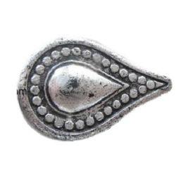 Picătură metalică  margele 24x16x5 mm gaură 1 mm culoare argintiu -50 grame ~ 54 bucăți