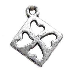 Pătrat cu inimă 19x15x2 mm orificiu 1 mm metalic -50 g ~ 210 bucăți