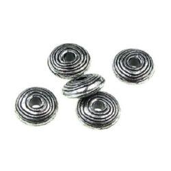 Șaibă metalică  margele 14x5 mm gaură 4 mm culoare argintiu -50 grame