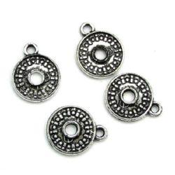 Monedă argint metalizată 18x22x2 mm gaură 3 mm cu un inel -50 grame