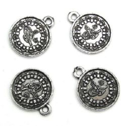 Monedă metalizată argintie 21x25x2 mm gaură 3 mm cu inel -50 grame