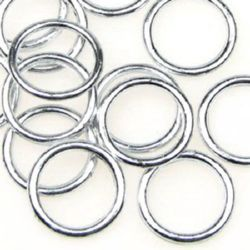 Inel metalic  margele 2x21 mm culoare alb -20 grame