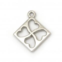 Висулка квадрат със сърца CCB 32x27x4 мм дупка 2.5 мм цвят сребро -10 броя