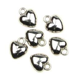 Висулка CCB сърце 12x10 мм дупка 2 мм цвят сребро -50 броя