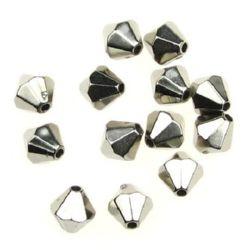 Мънисто CCB ромб 7x8 мм дупка 1 мм цвят сребро - 20 грама ~ 105 броя