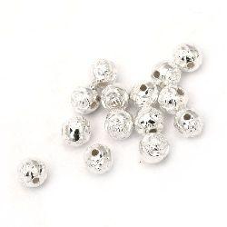 Мънисто CCB топче роза 8 мм дупка 1.5 мм цвят бял -20 грама ~ 80 броя