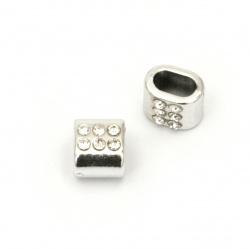 Мънисто CCB с кристал цилиндър сплескан 8x10x7.5 мм дупка 6x4 мм цвят сребро -10 броя