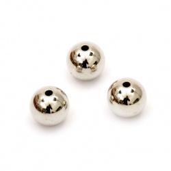 Margele CCB bilă 18 mm gaură 3 mm culoare argintiu -25 grame