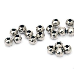 Мънисто CCB топче 4 мм дупка 1 мм цвят сребро -20 грама ~670 броя