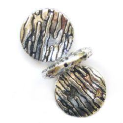 Мънисто метализе кръг гравиран 28 мм цвят сребро -50 грама