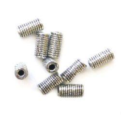 Cilindru metalic  margele 6x12x2,5 mm orificiu 3 mm gravat culoare argintiu -50 grame ~ 205 bucăți
