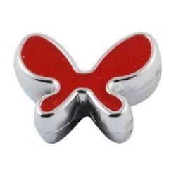 Мънисто CCB пеперуда 20x15x6 мм дупка 2 мм червена - 5 броя