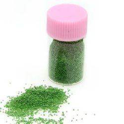 Γυάλινες διακοσμητικές χάντρες 0,6 -0,8 mm πράσινο -10 γραμμάρια