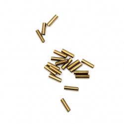 Margele de sticlă forma betisoare  6x2 mm gaură 1 mm iris cupru -50 grame