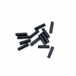 Bugle Glass Seed Beads, 2.5x9 mm, hole size 0.5 mm, opaque black -50 g
