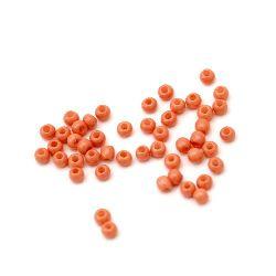 Мъниста стъклена тип чешка 2 мм плътна светло оранжева -15 грама ~ 2050 броя