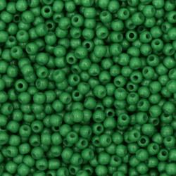 Мъниста стъклена тип чешка 2 мм плътна зелена -15 грама ~ 2050 броя