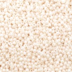 Мъниста стъклена тип чешка 2 мм плътна перлена бланш бадем меланж -15 грама ±2050 броя