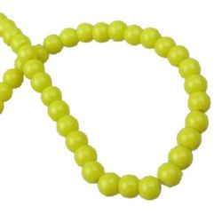 Наниз мъниста стъкло топче 4 мм плътно жълто -80 см ~240 броя