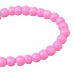 Наниз мъниста стъкло топче 4 мм плътно розово -80 см ~240 броя