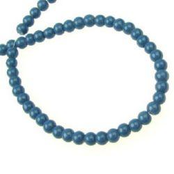 Șirag de mărgele de sticlă 4 mm albastru solid -80 cm ~ 240 bucăți