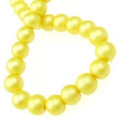 Наниз мъниста стъкло перла 8 мм дупка 1 мм матирана злато ±80 см ±115 броя