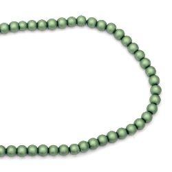 Наниз мъниста стъкло перла 8 мм дупка 1.5 мм матирана зелена ~80 см ~106 броя