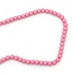 Наниз мъниста стъкло перла 8 мм дупка 1.5 мм матирана розова тъмно ~80 см ~106 броя