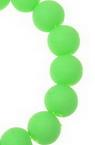 Наниз мъниста стъкло топче 10 мм дупка 1 мм неоново гумирано зелено ~80 см ~82 броя