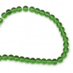 Наниз мъниста стъкло топче 10 мм прозрачно зелено ~40 броя